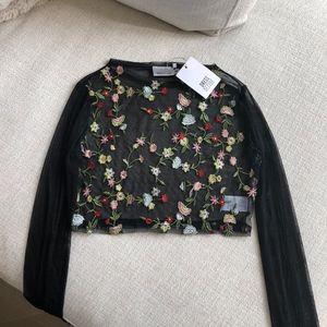 Dress DECODE Flower Sheer Crop Top